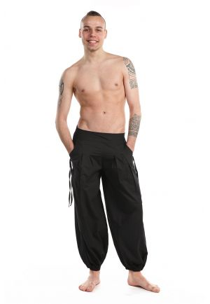 Pantalon aladin printemps ete basic ethnic mixte noir