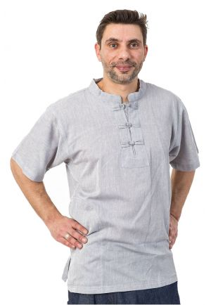 Chemise col mao manches courtes et poches gris chine clair