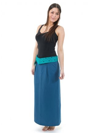 Jupe longue ethnic chic in the city bleu petrole turquoise Tala