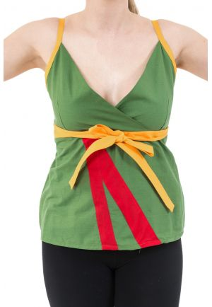 Top decollete V rouge jaune vert coton leger Summer style