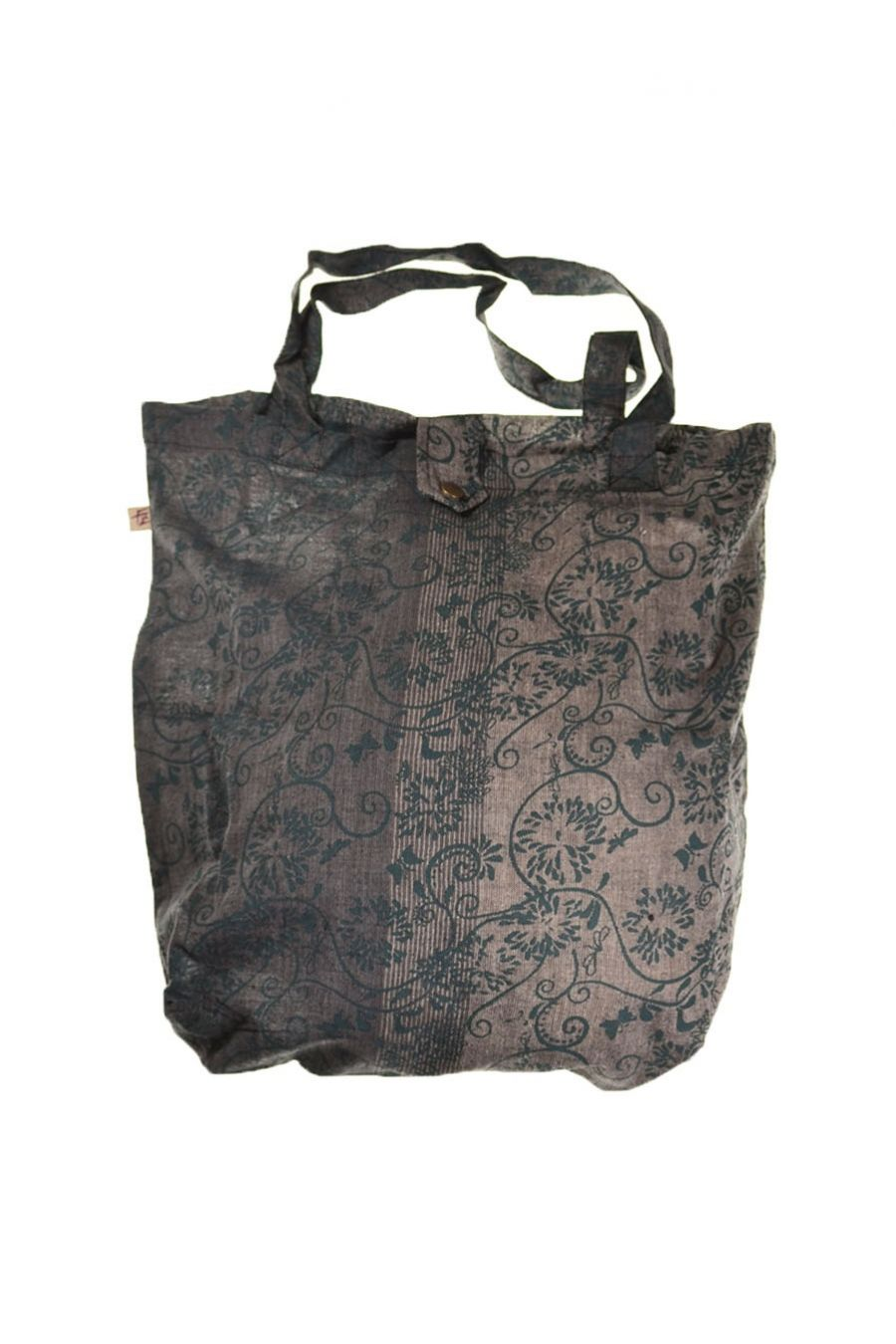 fzb12a sac tote bag coton imprim ethnic babachic gris noir. Black Bedroom Furniture Sets. Home Design Ideas