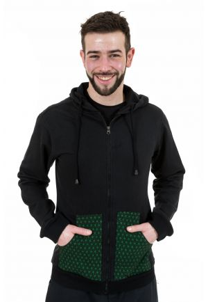 Sweat capuche zip et poches print original green stars Jehbee