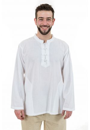 Chemise ethnic asia col mao boutons coton blanc milk Dudha